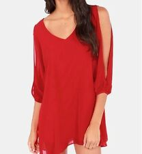 Women's Classy Red Vintage Boho Tunic Top Open Cold Shoulder NWT XL