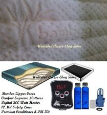 California King Boyd Comfort Supreme WATERBED MATTRESS w/ Bamboo Zipper Cover