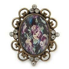 Vintage Filigree Floral Flower Cameo Crystal Cocktail Statement Pendant Necklace