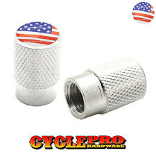 2 Silver Billet Knurled Tire Valve Cap Motorcycle - USA FLAG - 021