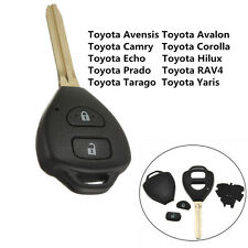 2 Buttons Remote Key Fob Shell Case & Uncut Blade For Toyota Rav4 Corolla Hilux