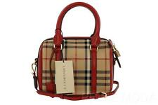 NEW BURBERRY SMALL HORSEFERRY CHECK RED LEATHER ALCHESTER BOWLING BAG HANDBAG