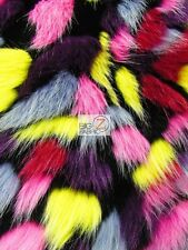 TRIBAL MULTI COLOR COSTUME COAT FAUX FUR FABRIC - Black 3 - BY THE YARD COAT