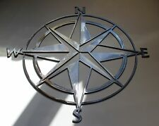 "Nautical COMPASS ROSE  WALL ART DECOR 30""  Silver Version"