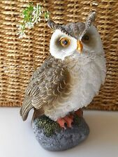 15CM REALISTIC OWL ON ROCK ORNAMENT DISPLAY *GIFT *NEW