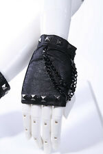 RQBL Ladies Gothic Goth Metal Biker Punk Rock Steampunk Black Fingerless Gloves