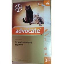 6 x Genuine ADVOCATE Cats Small Kittens 0- 4 KG Parasite Worms Pest Control