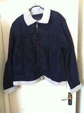Men's Black Faux  Sheepskin Suede+Fur Zipped Flying Jacket Style Size L