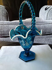 Fenton Limited EditionTeal Blue Hand Painted Snow Crest basket Signed Mint NR