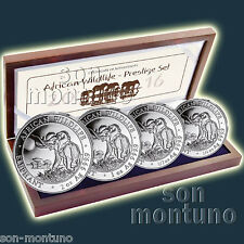 2016 Somalian SILVER ELEPHANT 4 COIN PROOF SET in Box with COA African Wildlife