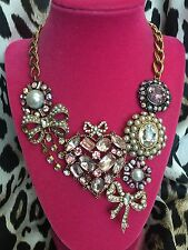 Betsey Johnson Vintage Cupid's Arrow Pink Heart Bow Valentine Crystal Necklace