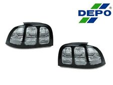 NEW DEPO 94-98 FORD MUSTANG BLACK ALL CLEAR TAIL LIGHT V6 GT COBRA PAIR