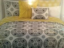 MAX STUDIO 3PC DUVET COVER SET ~ BLACK WHITE GOLD FLORAL CIRCLE MEDALLION King
