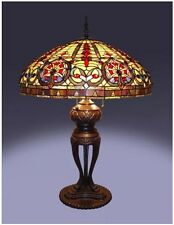 Tiffany Style Table Lamp Bronze Copper Glass Metal 2 Lights Pull Chain 60 Watt