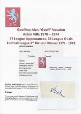 GEOFF VOWDEN ASTON VILLA 1970-1974 ORIGINAL HAND SIGNED CUTTING/CARD