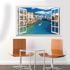 Large 3D WINDOW WALL ART STICKER - Italy Venice CITY River Mural Vinyl Decals
