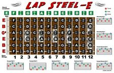 Lap Steel Guitar Fretboard Wall Chart Poster E Tuning Notes Rolls Chords 11x17
