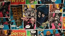 Dr Who  cartoon strip master tardis cyber man dalek 100% Cotton Fabric