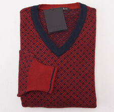 NWT $875 BERTOLO Red-Navy Basketweave 100% Cashmere Sweater 50/M Classic-Fit