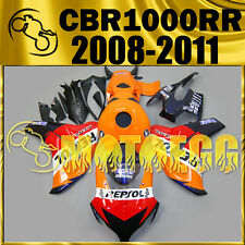 For CBR1000RR 08-11 2008-2011 Injection Molded Fairing Repsol Orange Blue 1811A