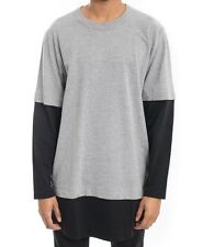 NWT $70 Cheap Monday Fake Is Tee Long Sleeve Shirt in Grey Melange & Black sz XL