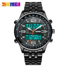 SKMEI LED Digital Analog Full Stainless Steel Outdoor Sports Mens Wrist Watch