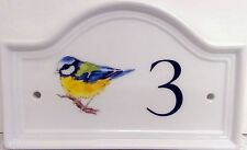 Blu Tit Bird House Door Number Plaque  Ceramic House Sign Any Number
