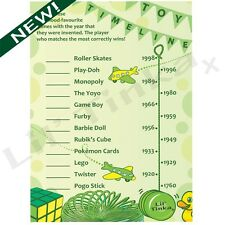 TOY TIMELINE BABY SHOWER PARTY GAME- PREMIUM QUALITY- 10 PACK. BOY/GIRL. PREMIUM