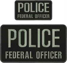 POLICE FEDERAL OFFICER 6X11 &3x6 hook on back/gray LETTERS