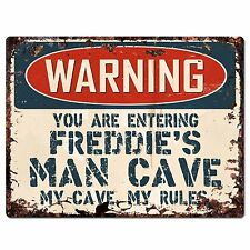 PP3414 WARNING ENTERING FREDDIE'S MAN CAVE Chic Sign Home Decor Funny Gift