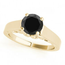 2.00 Carat Huge AAA Black Diamond Solitaire Wedding Ring Super Cheap in Price