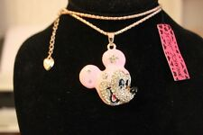 """Betsey Johnson GP 28"""" Chain Pink Enamel,Clear Crystal Mickey Necklace"""
