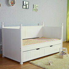 Kids European Design Siesta White NZ Pine Girls Princess Single Trundle Bed