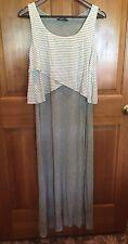 CHELSEA & THEODORE womens summer maxi dress HEATHER GRAY sleeveless ~ SMALL