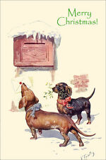 Dachshund Dogs Deliver Card Feriertag 1920s LARGE New Blank Christmas Note Cards