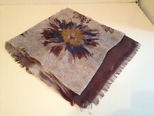 NWT $1290 Loro Piana Brown Blue Floral Cashmere Blend Wrap Scarf  FS