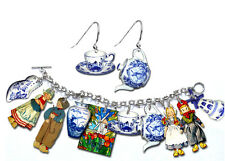 Blue Delft Bracelet & Earrings Set - Dutch Children Pottery Shoe Teapot Cup Etc.