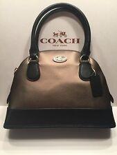COACH MINI Signature CORA DOMED SATCHEL CROSSBODY Purse Black/Bronze F36054 NWT