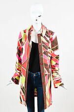 Emilio Pucci Green Pink & Beige Cotton Long Buttoned Abstract Print Jacket SZ 8