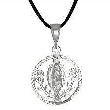 Sterling Silver .925 Virgin Mary Our Lady of Guadalupe D/C Pendant | Made in USA