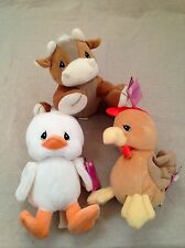 3 NEW Precious Moments Country Lane Tender Tails Cow Duck Rooster retired