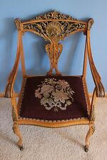 Antique Victorian Settee Chair Highly Detailed Wooden Castor Wheels 1800-1899
