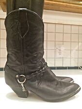 Women's Short Leather Western Cowboy Black Harness Boots Size 9 M (Lot C)