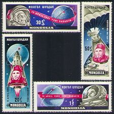 Mongolia 1961 Yuri Gagarin/Manned Space Flight/Rockets/Parachute 4v set (n33688)