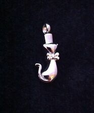 Silver Cremation Jewellery Necklace Pendant Locket Ashes Hair Pussy Cat Kitten