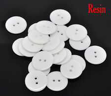 25 Classic White Resin Sewing Buttons 23mm Sewing, Crafts Scrapbook Free P&P
