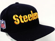 Pittsburgh Steelers Hat Black Wool Flatbill Snapback  w/Raised 3-D Embroidery