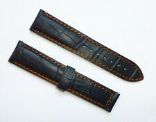22mm, 22/18 Black Orange Stitch Band Strap Alligator-Style