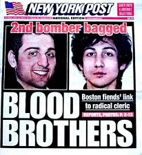 Boston Marathon Bombings Newspaper New York Post 4/20/2013 Bomber Blood Brothers