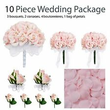 10 Piece Wedding Package - Silk Wedding Flowers - Pink Rose Bridal Bouquets